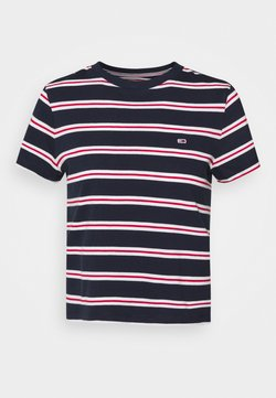 Tommy Jeans - REGULAR CONTRAST BABY TEE - T-Shirt print - twilight navy