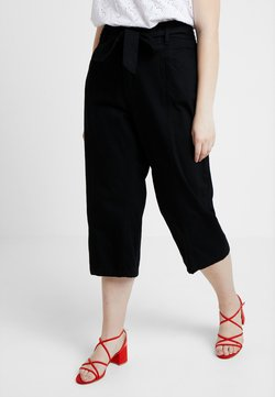 City Chic - EXCLUSIVE TIE WAIST CROP - Straight leg jeans - black
