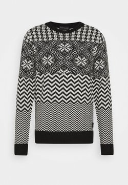 Scotch & Soda - LIGHTWEIGHT  FAIR ISLE PULL - Strickpullover - black,white