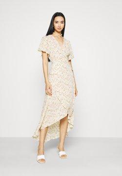 Missguided - FLORAL MIDAXI WRAP TIE WAIST DRESS - Maxikleid - cream