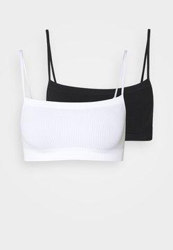 Cotton On Body - SEAMFREE STRAIGHT NECK CROP 2 PACK - Bustier - black/white