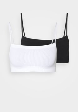 Cotton On Body - SEAMFREE STRAIGHT NECK CROP 2 PACK - Bustier - black/white