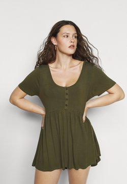 Simply Be - SHORT SLEEVE TUNIC - Jerseykleid - olive
