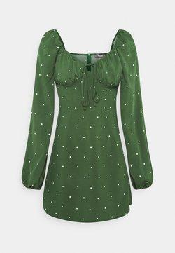Missguided - TIE BUST MILKMAID SKATER DRESS POLKA - Freizeitkleid - dark green