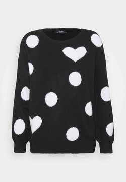 Wallis - SPOT HEART SWEATER - Strickpullover - black