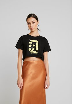 NA-KD - SIGN CROPPED TEE - T-Shirt print - black