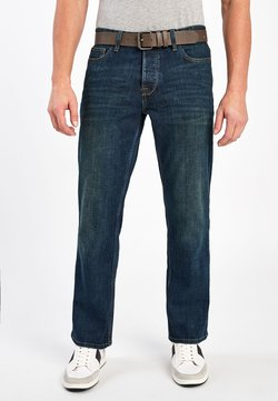 Next - DIRTY WASH BOOTCUT FIT BELTED JEANS WITH STRETCH - Jeans Bootcut - blue