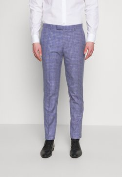 1904 - JASPE OVER CHECK TROUSER SLIM - Suit trousers - mid blue
