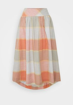 Thought - ALEXA FULL CHECK SKIRT - A-Linien-Rock - clementine orange