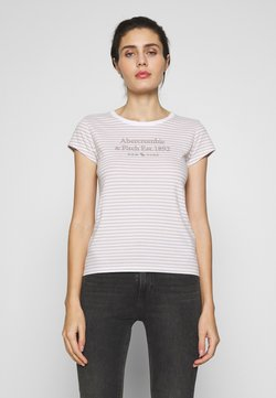 Abercrombie & Fitch - LONG LIFE LOGO - T-shirt con stampa - white