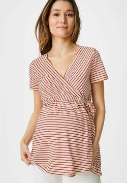 C&A - T-Shirt print - red/cremewhite