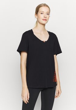 ONLY Play - ONPALIDA LIFE V-NECK TEE - Printtipaita - black/fiery coral