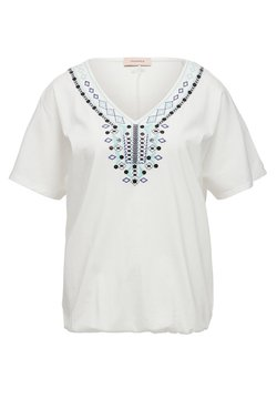 Triangle - T-SHIRT MIT ETHNO-STITCHING - Top - white embroidery