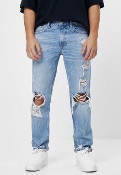 Bershka - VINTAGE  IM STRAIGHT-FIT MIT RISSEN - Jeans Straight Leg - blue denim