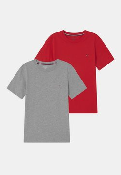 Tommy Hilfiger - 2 PACK  - T-shirt basic - medium grey heather/primary red