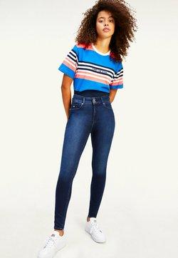 Tommy Jeans - LOGO EMBROIDERY CROPPED FIT STRIPE  - T-Shirt print - gulfcoast blue stripe