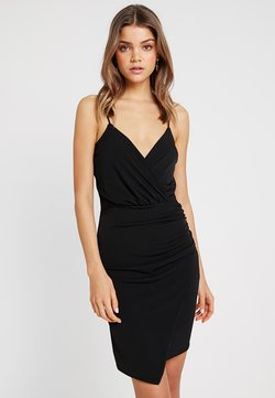 Missguided - SLINKY WRAP OVER MINI DRESS - Etuikleid - black