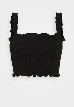 Glamorous - CARE SLEEVELESS SMOCKED CROP TOP WITH RUFFLE TRIM - Bluse - black