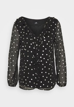 Wallis - SPOT RUFFLE TOP - Bluse - black
