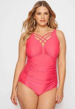 Yours Clothing - LATTICE - Badeanzug - pink