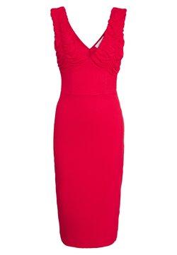 Lost Ink - RUCHED SLEEVE BODYCON MIDI DRESS - Vestido informal - red