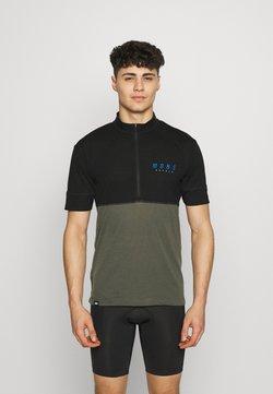 Mons Royale - CADENCE HALF ZIP - T-Shirt print - black/olive