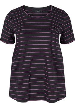 Zizzi - T-Shirt print - black w purple
