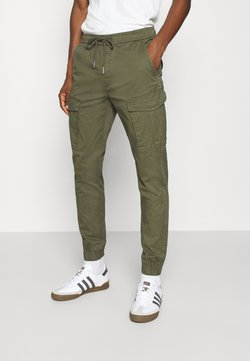 Solid - PANTS JIM CUFF - Cargo trousers - ivy green