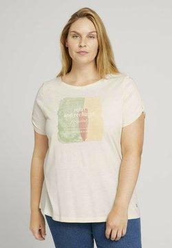 MY TRUE ME TOM TAILOR - T  SHIRT PRINT T-SHIRT MIT BIO  BAUMWOLLE - T-shirt print - soft creme beige