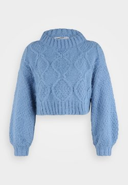 Glamorous Petite - CROP JUMPER WITH LONG SLEEVES AND BOAT NECK - Jersey de punto - heritage blue