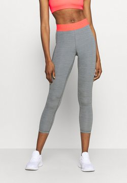Nike Performance - 7/8 FEMME - Tights - smoke grey heather/bright mango/white