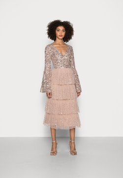 Maya Deluxe - BELL SLEEVE TIERED EMBELLISHED MIDI - Cocktailklänning - taupe blush