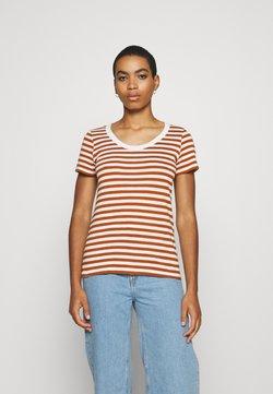 Esprit - STRIPED SHIRT - T-Shirt print - caramel
