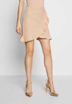 Nly by Nelly - FRILL MINI SKIRT - Kietaisuhame - beige