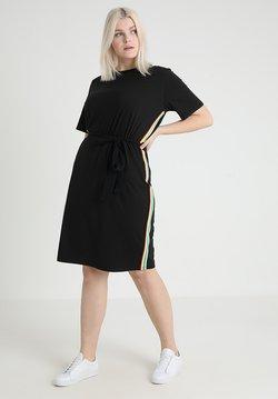 Urban Classics Curvy - LADIES MULTICOLOR SIDE TAPED DRESS - Vestido ligero - black