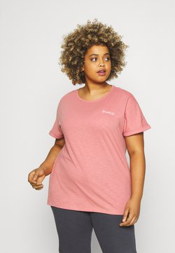MY TRUE ME TOM TAILOR - CHEST EMBROIDERY - T-shirts med print - dusty rose pink