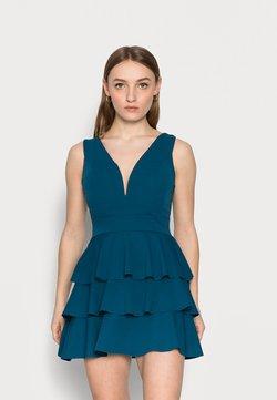 WAL G PETITE - V NECK DOUBLE DRILL DRESS - Vestito elegante - teal blue