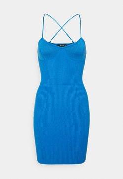 Missguided - CROSS FRONT BODYCON DRESS - Vestido de punto - blue