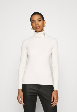 Calvin Klein Jeans - ROLL NECK - Strickpullover - soft cream