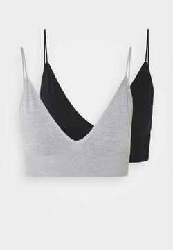 Cotton On Body - SEAMFREE LONGLINE BRALETTE 2 PACK - Bustier - black/grey marle