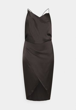 Missguided Plus - ASYM STRAP DRAPE MIDI DRESS - Cocktailkleid/festliches Kleid - black