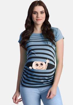 M.M.C. - MIT MOTIV WINKE WINKE - T-Shirt print - babyblau