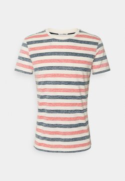 TOM TAILOR DENIM - TEE WITH INSIDE STRIPE - T-shirt con stampa - red/navy/almond