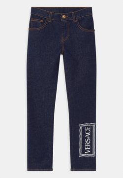 Versace - PANTALONE LUNGO - Jeans Slim Fit - blu scuro/bianco