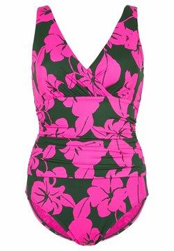 Boden - TALAMANCA - Badeanzug - palmblattgrün, üppige blüten