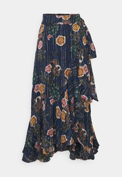 Scotch & Soda - PRINTED WRAP SKIRT IN SHEER STRIPE - A-Linien-Rock - blue