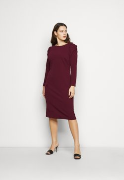 Dorothy Perkins Curve - CURVE RUCHED SLEEVE BODYCON - Jerseykleid - berry