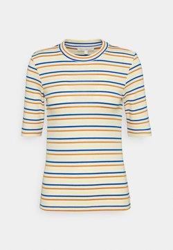 TOM TAILOR DENIM - STRIPED MOCKNECK TEE - T-Shirt print - creme/blue/yellow