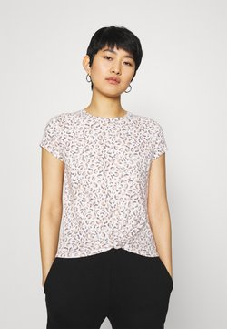 Abercrombie & Fitch - KNOTTED MIDI LEOPARD - T-Shirt print - white