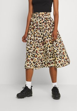 Pieces - PCFALISHI SKIRT - A-Linien-Rock - white/yellow